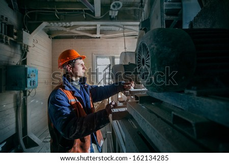 man miner works in a mine - stock photo