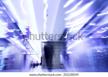 Man moovig in office - motion blur - photo like lens-baby - stock photo