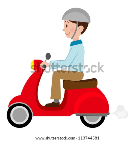 Man motorbiker on the scooter - stock photo