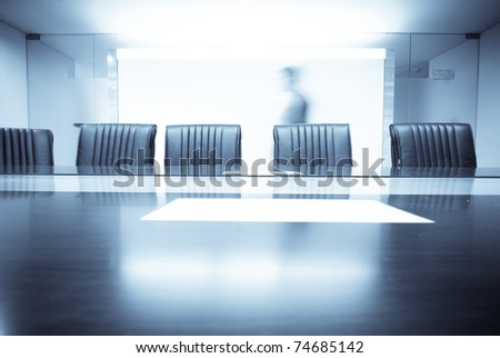 man move in Meeting room - stock photo