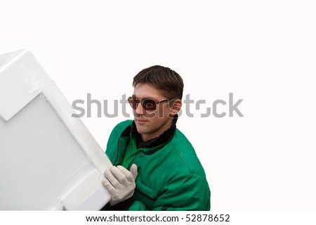 Man mover carrying a heavy thing - stock photo