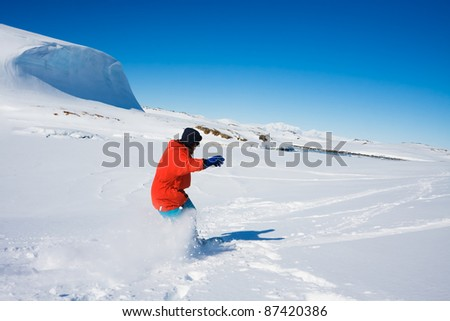 Man moves on skis. Glacier in background. Antarctica - stock photo