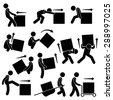 Man Moving Box Actions Postures Stick Figure Pictogram Icons - stock vector