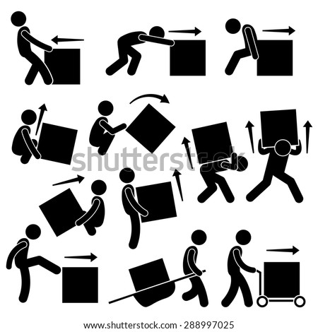 Man Moving Box Actions Postures Stick Figure Pictogram Icons - stock photo