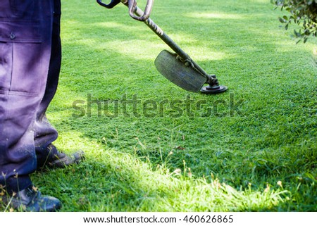 Man mows the grass trimmer electric garden in a village in the summer