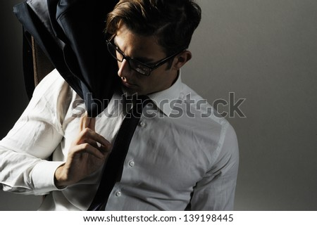 man naked in shirt - stock photo