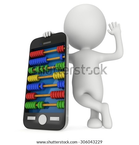 Man near smartphone with abacus scores screen. 3d render isolated on white. - stock photo