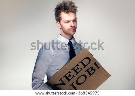 Man Needs job - stock photo