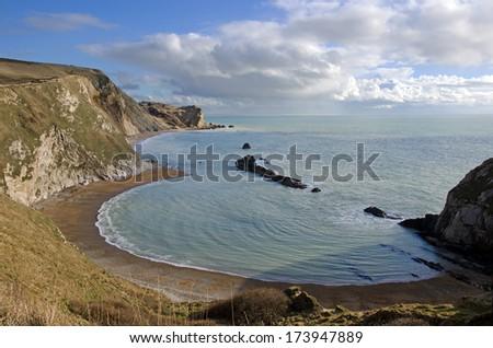 Man o War Bay near Durdle Door, Dorset, England, UK The Jurassic coast a UNESCO World Heritage site - stock photo