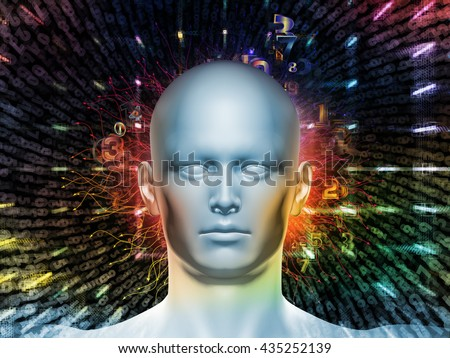 Man of Number series. Arrangement of human head, numbers and visual elements on the subject of human mind, modern technology, education and science