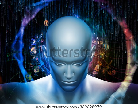 Man of Number series. Background design of human head, numbers and visual elements on the subject of human mind, modern technology, education and science - stock photo