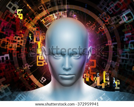 Man of Number series. Interplay of human head, numbers and visual elements on the subject of human mind, modern technology, education and science - stock photo