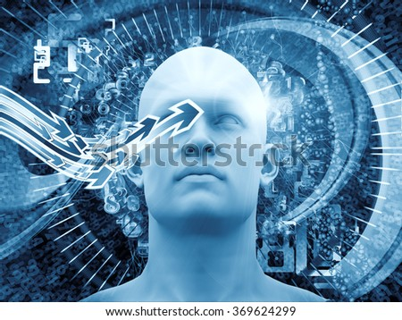 Man of Science series. Abstract design made of human head, numbers and visual elements on the subject of human mind, modern technology, education and science - stock photo