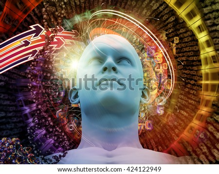 Man of Science series. Background design of human head, numbers and visual elements on the subject of human mind, modern technology, education and science - stock photo