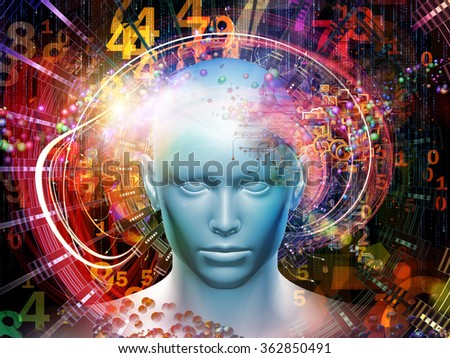 Man of Science series. Composition of human head, numbers and visual elements on the subject of human mind, modern technology, education and science - stock photo