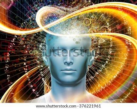 Man of Science series. Design composed of human head, numbers and visual elements as a metaphor on the subject of human mind, modern technology, education and science - stock photo