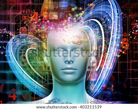 Man of Science series. Interplay of human head, numbers and visual elements on the subject of human mind, modern technology, education and science - stock photo