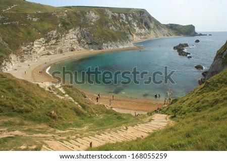 Man of War bay in Dorset - stock photo