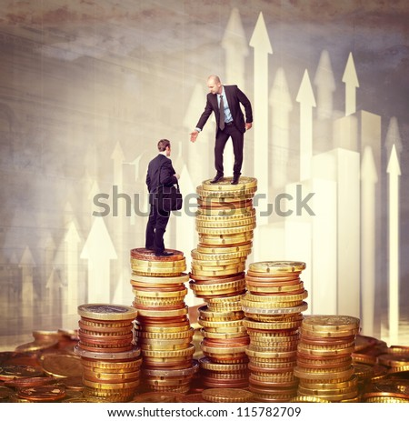 man offer his help to another businessman - stock photo