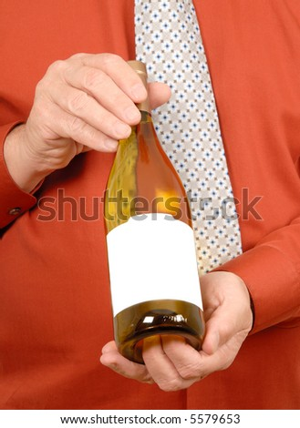 Man Offering a Bottle of White Wine