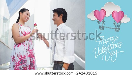 Man offering a red rose to girlfriend against cute valentines message - stock photo