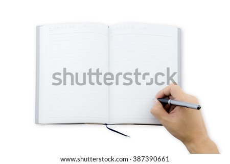 man office worker hand writing book(note, diary) spread top view, space in a notebook for blog entries, you can place your text or information. - stock photo
