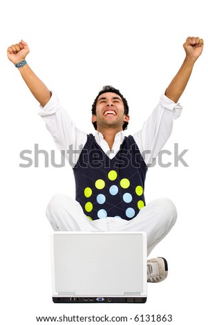 man on a laptop computer celebrating his success on the internet isolated over a white background - stock photo