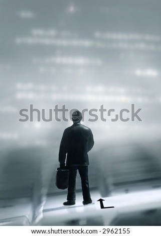 man on a trip standing on a keybord - stock photo