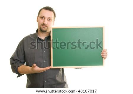 man on a white background holding blackboard - stock photo