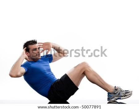 man on Abdominals rotation workout posture on white background. - stock photo
