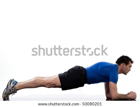 man on Abdominals workout Basic Plank posture on white background - stock photo