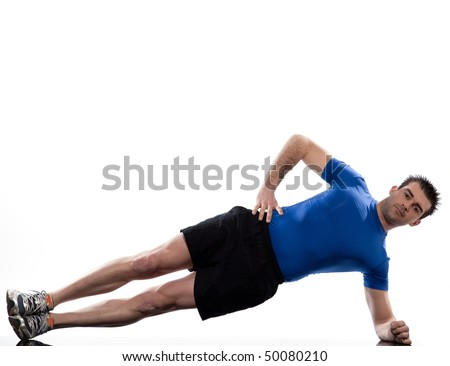 man on Abdominals workout posture on white background - stock photo