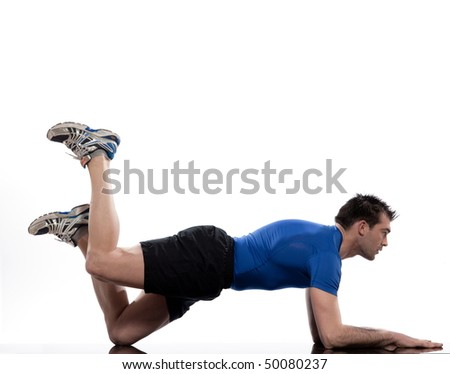 man on Abdominals workout posture on white background. Plank Bent Leg Raise - stock photo