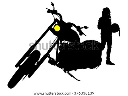 Man on big bike on white background