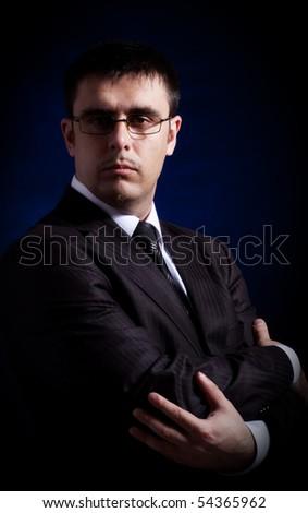 man on black background, vintage portrait - stock photo