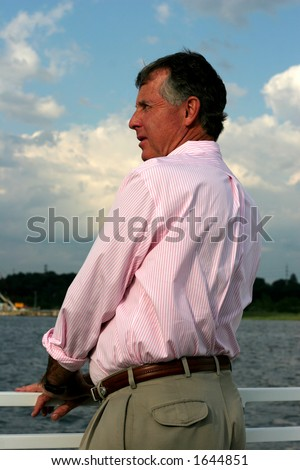 man on boat - stock photo