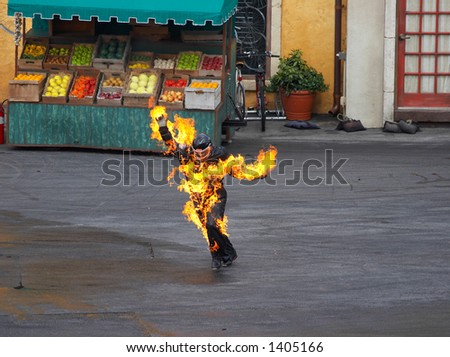 man on fire - stock photo