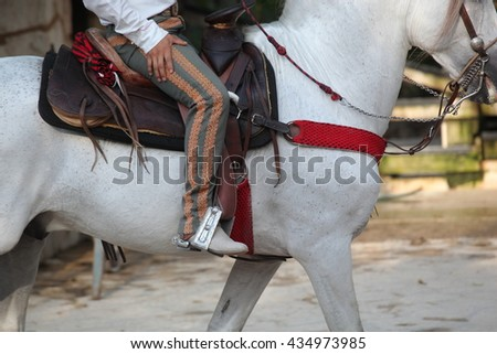 man on horse saddle with spur - stock photo