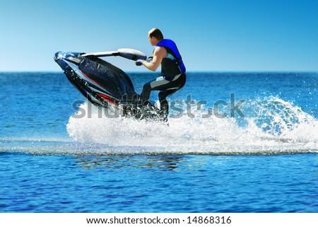 Man on jet ski - stock photo