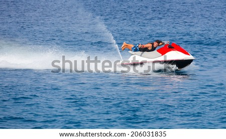 man on jetski  - stock photo