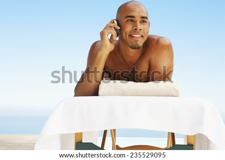Man on Massage Table - stock photo