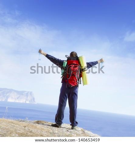 man on mountain - stock photo
