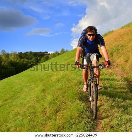 man on mountain bike - stock photo