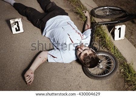 Man on scooter killed unhappily - police investigation - stock photo