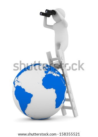 man on staircase. Isolated 3D image - stock photo