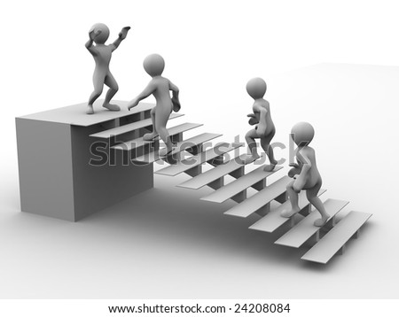 Man on stairs. 3d