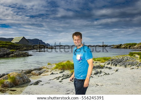Man on the beach in Norway