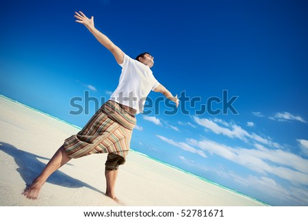 man on the beach. The Pacific Ocean. Cuba - stock photo