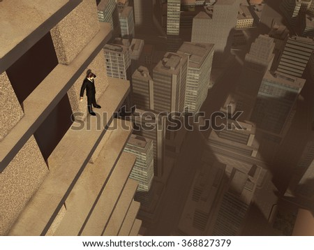 Man on the ledge of a skyscraper - stock photo