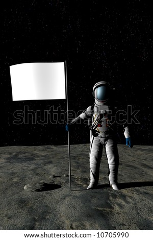 Man on the moon - add your own message in the flag - stock photo
